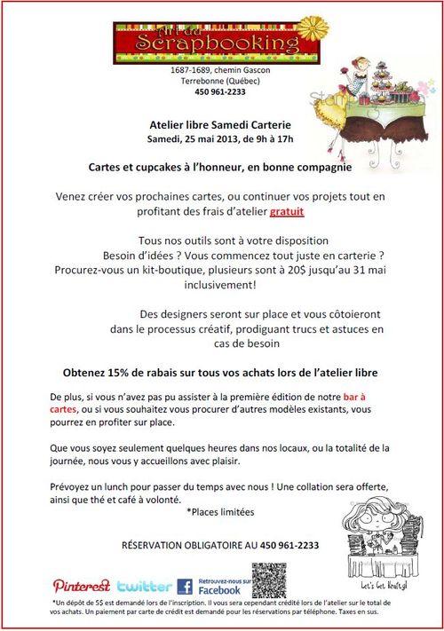 Annonce Atelier libre Samedi Carterie