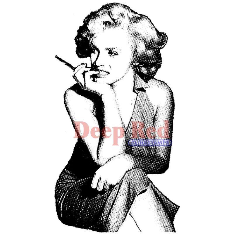 53784-5-Deep-Red-Stamps-Etampe-en-caoutchouc-cling-Marilyn