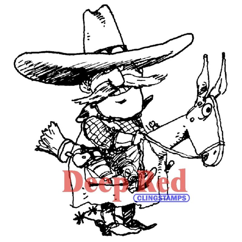 53809-11-Deep-Red-Stamps-Etampe-en-caoutchouc-cling-Cowboy