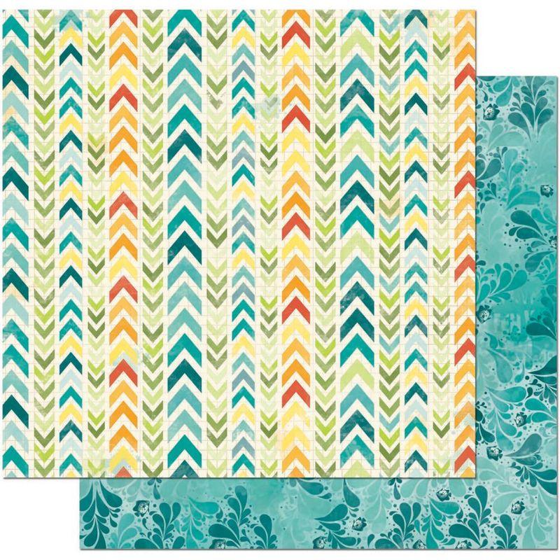 52847-3-BoBunny-Papier-a-motifs-recto-verso-12-x12-Collection-Key-Lime-Makin-Waves